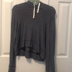 Hollister plush navy blue and white pullover